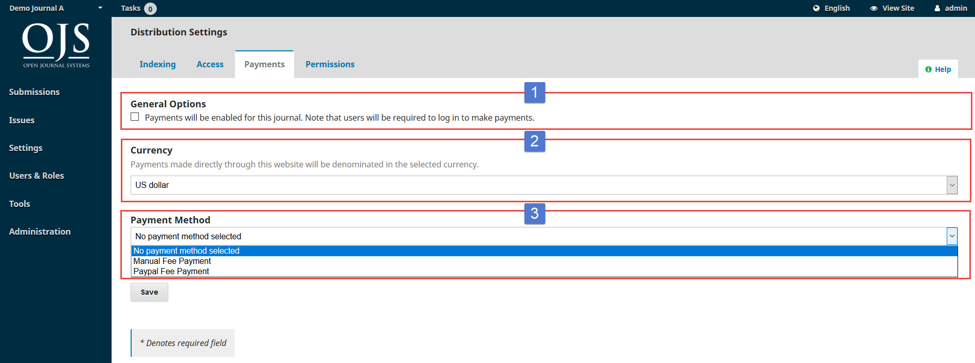 OJS 3.x distribution settings payment