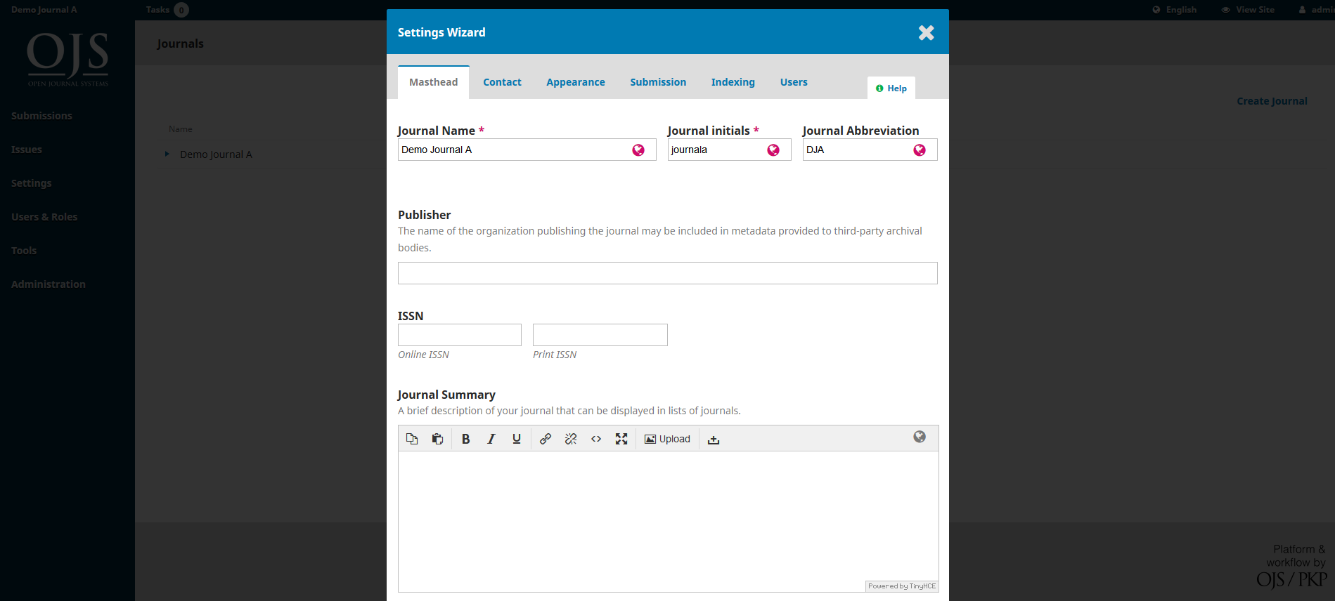 OJS 3.x hosted journal setting wizard