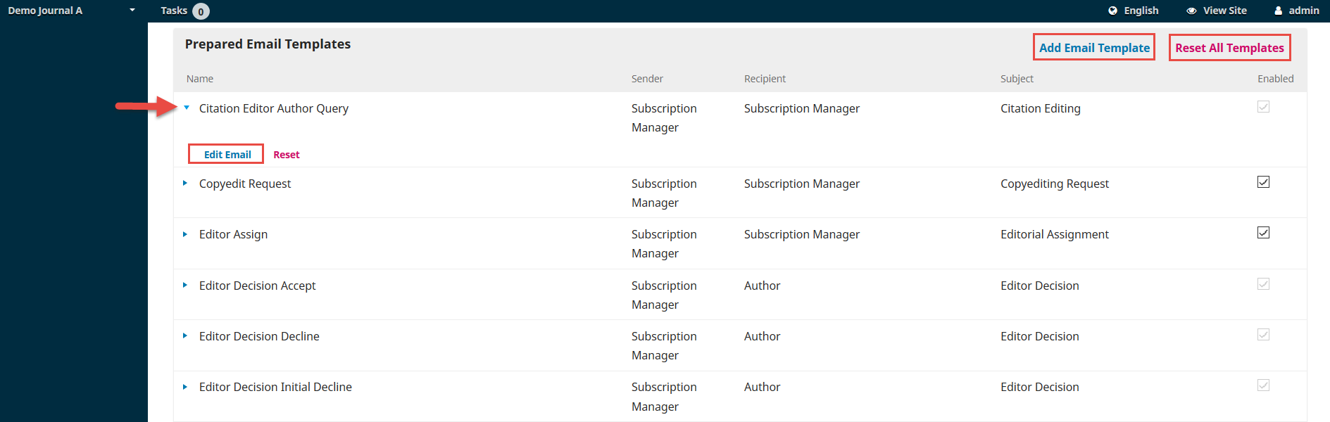 Ojs 3 Workflow Settings Email Templates Open Journal Systems