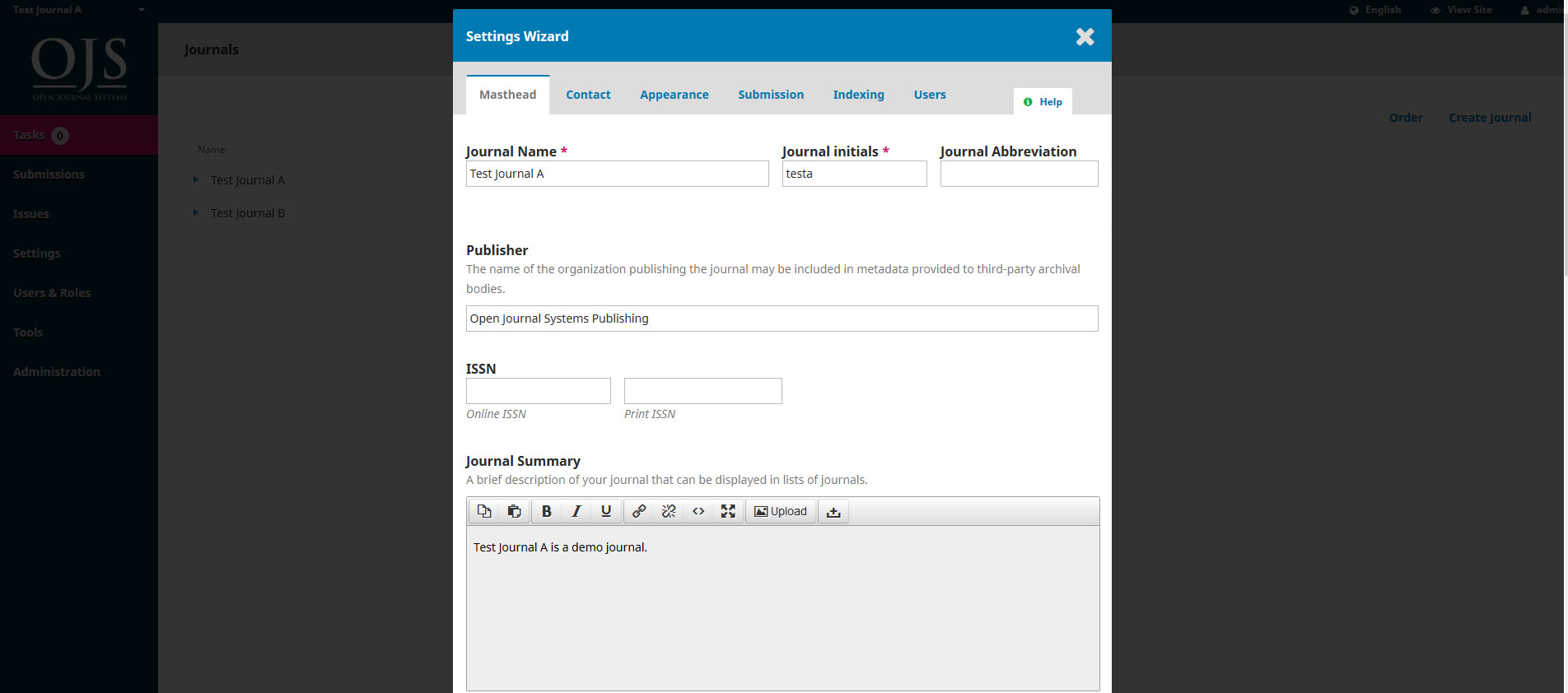 ojs3-site-management-hosted-journal-setting-wizard