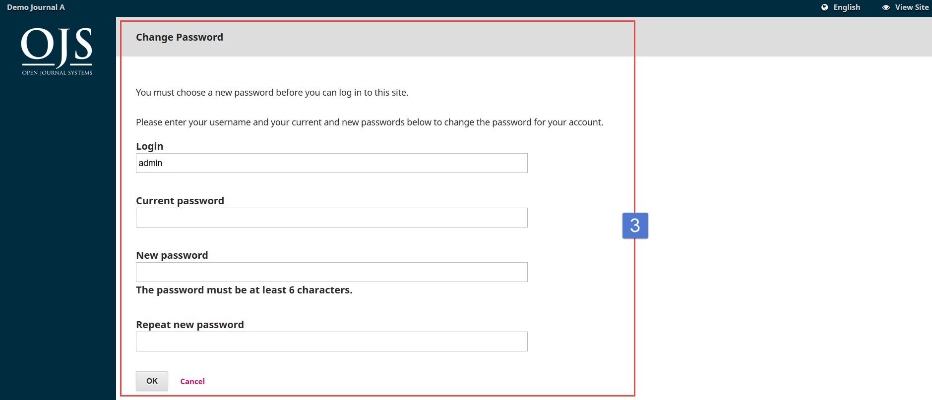 OJS 3 change password