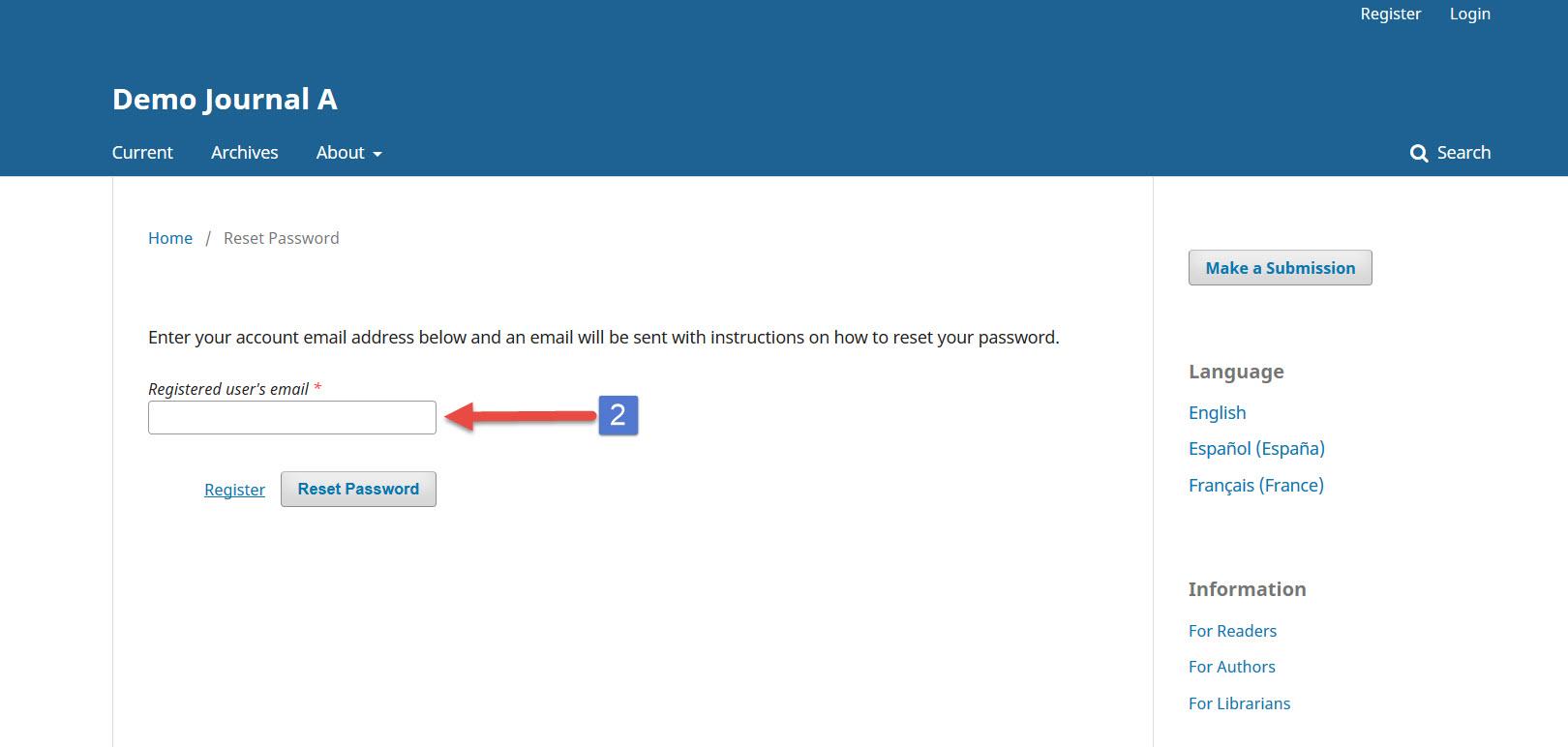 OJS 3 reset password request