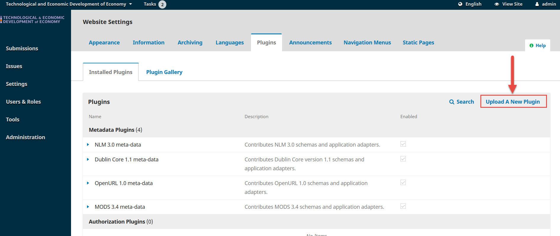 OJS 3.x iThenticate plugin upload